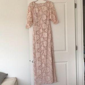 RL blush lace dress w/ flutter sleeves, side slit
